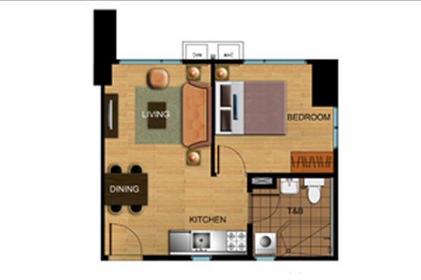 Avida Atria Tower One Bedroom Floor Plan