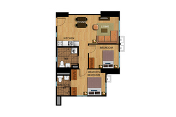 Avida Atria Tower Two Bedroom Floor Plan